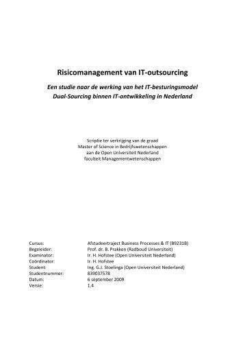 Risicomanagement van IT-outsourcing - DSpace at Open ...