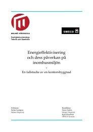 Energieffektivisering och dess påverkan på ... - Malmö högskola