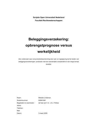 Beleggingsverzekering - DSpace at Open Universiteit - Open ...
