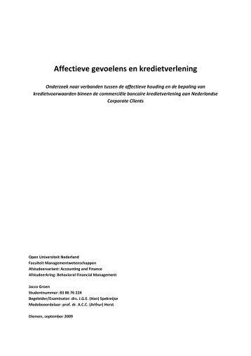 Affectieve gevoelens en kredietverlening - DSpace at Open ...