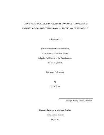 MARGINAL ANNOTATION IN MEDIEVAL ROMANCE MANUSCRIPTS