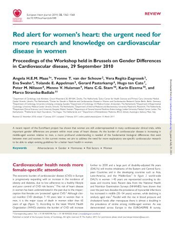 Red alert for women's heart: the urgent need for more research and ...