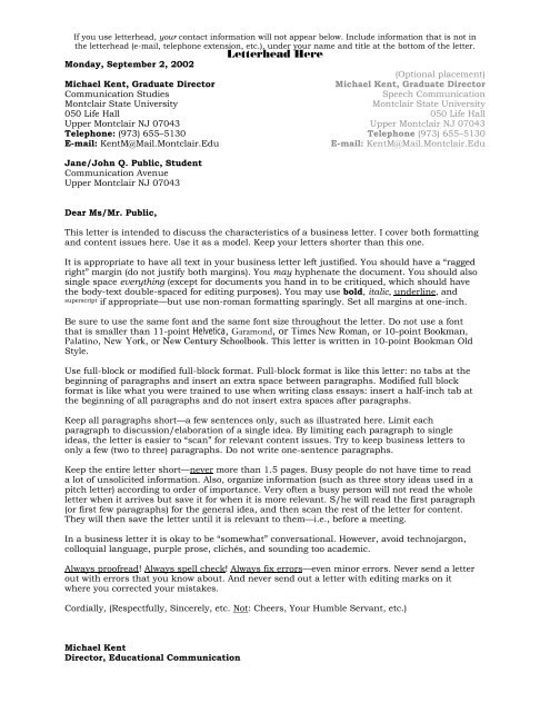 How to Write Business Letters and Memos (PDF) - Faculty-Staff