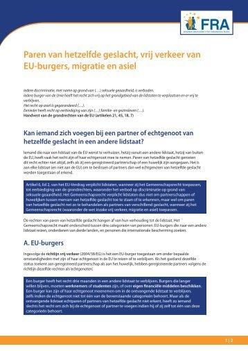 Paren van hetzelfde geslacht, vrij verkeer van EU-burgers ... - Europa