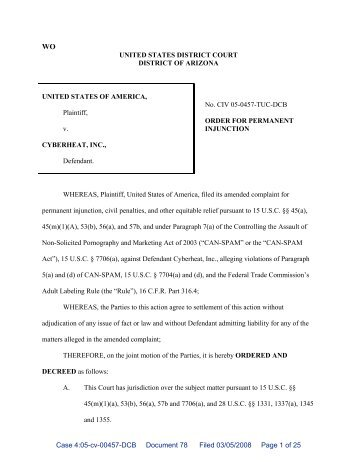 Proposed Order for Permanent Injunction - Federal Trade Commission