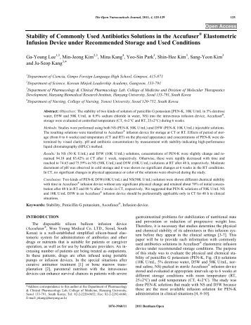 Stability of Commonly Used Antibiotics Solutions ... - Bentham Science