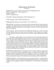 Biological Sciences 210 Biostatistics Spring 2011 INSTRUCTOR ...