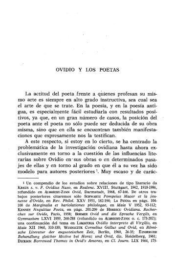 OVIDIO Y LOS POETAS La actitud del poeta frente a ... - InterClassica