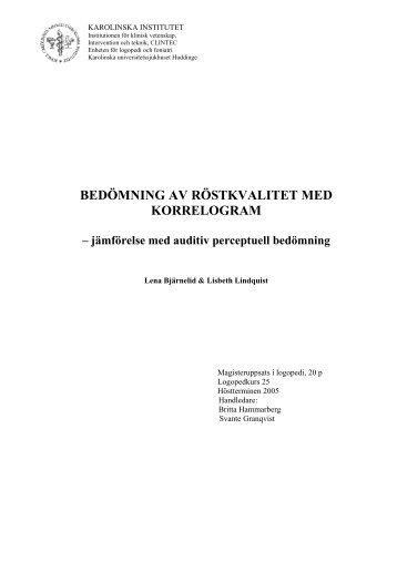 Lena Bjärnelid och Lisbeth Lindquist (Pdf-fil, 498 Kb) - Karolinska ...