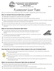 fluorescent light tubes - City of Lincoln & Lancaster County