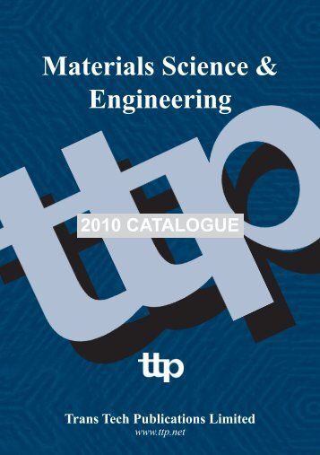 Materials Science & Engineering - Trans Tech Publications Inc.