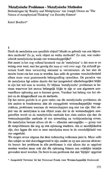 Metafysische Problem en - Metafysische Methoden