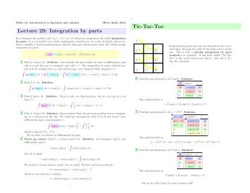 Lecture 29: Integration by parts Tic-Tac-Toe