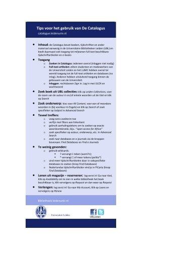 Tips voor het gebruik van De Catalogus - O - Universiteit Leiden