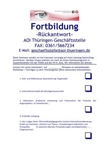 Fortbildung Fragebogen-Seminarprogramm 1-2012 - AOI - Thüringen