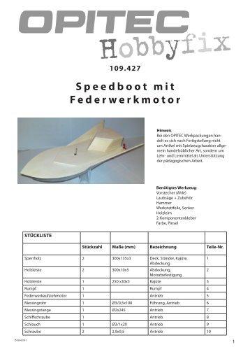 Speedboot mit Federwerkmotor