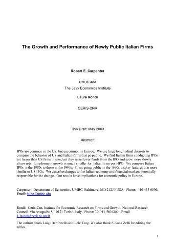 The Growth and Performance of Newly Public Italian Firms