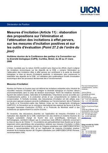 Mesures d'incitation (Article 11) : élaboration des ... - IUCN