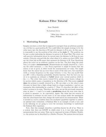 Kalman Filter Tutorial - Irene Markelic