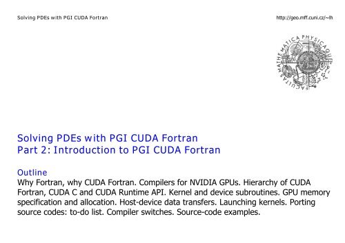 Solving PDEs with PGI CUDA Fortran Part 2: Introduction to