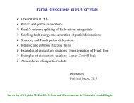 Partial dislocations in FCC crystals - University of Virginia