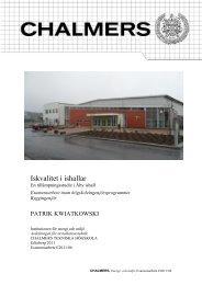 Iskvalitet i ishallar - Chalmers tekniska högskola