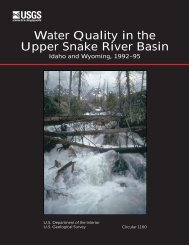 Water Quality in the Upper Snake River Basin, Idaho ... - the USGS