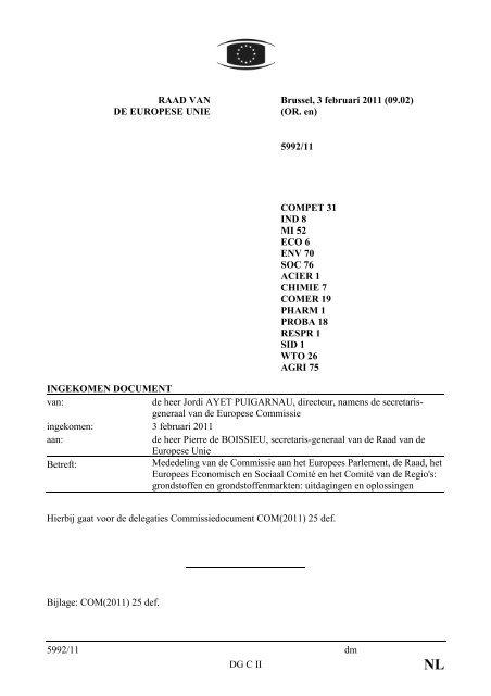 5992/11 dm DG C II RAAD VAN DE EUROPESE UNIE ... - Europa