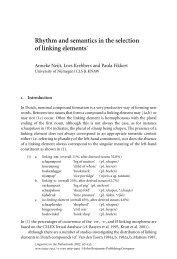 Rhythm and semantics in the selection of linking ... - John Benjamins