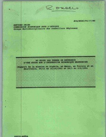 (Rapport de la mission en AlgSrie, au Maroc, en ... - UNECA IR Home