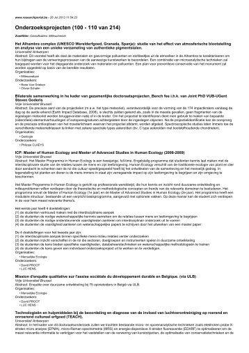 Onderzoeksprojecten (100 - 110 van 214)