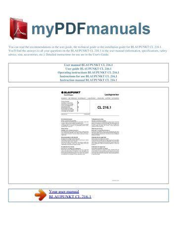 User manual BLAUPUNKT CL 216.1 - MY PDF MANUALS