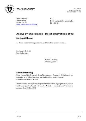 Analys av utvecklingen i Stockholmstrafiken 2012 - Insyn