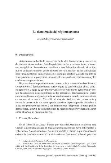 La democracia del séptimo axioma - Biblioteca SAAVEDRA ...