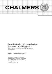 Garantikostnader vid byggproduktion - Chalmers tekniska högskola