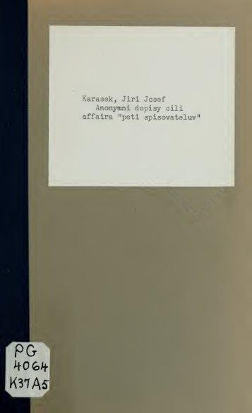 "Anonymní dopisy ili affaira ""pti spisovatelv."" - University of Toronto ..."