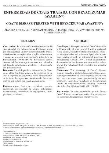 enfermedad de coats tratada con bevacizumab (avastin®) coat's ...