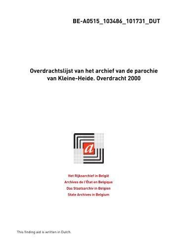 Parochie Kleine-Heide (Beringen). Overdracht 2000 - Zoeken in het ...