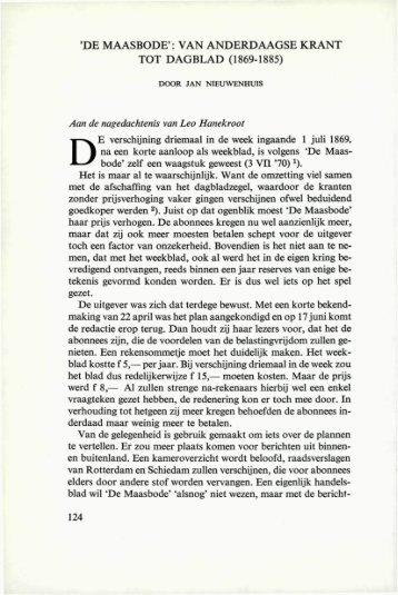 'DE MAASBODE': VAN ANDERDAAGSE KRANT TOT ... - Rotterdam