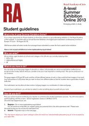 A-level Summer Exhibition Online 2013 Student guidelines