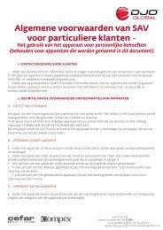 Algemene voorwaarden van SAV voor particuliere klanten - - DJO