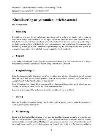 Klassificering av yttranden i telefonsamtal - Stp - Uppsala universitet