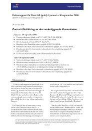 Delårsrapport för Duni AB (publ) 1 januari – 30 september 2008 ...
