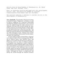Sephardic Jews, an article in the Encyclopedia of Homosexuality
