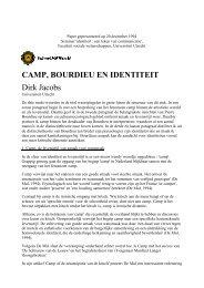 CAMP, BOURDIEU EN IDENTITEIT Dirk Jacobs