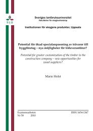 Sveriges lantbruksuniversitet Institutionen för skogens produkter ...