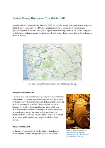 Western Norway Hydropower Trip, October 2012 - NTNU