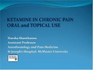 Ketamine in Chronic Pain - McMaster University