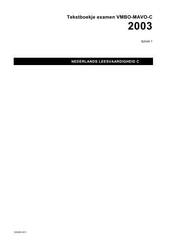 Tekstboekje examen VMBO-MAVO-C 2003 - Kennisnet
