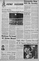 University of Cincinnati News Record. Thursday, May 11, 1961. Vol ...